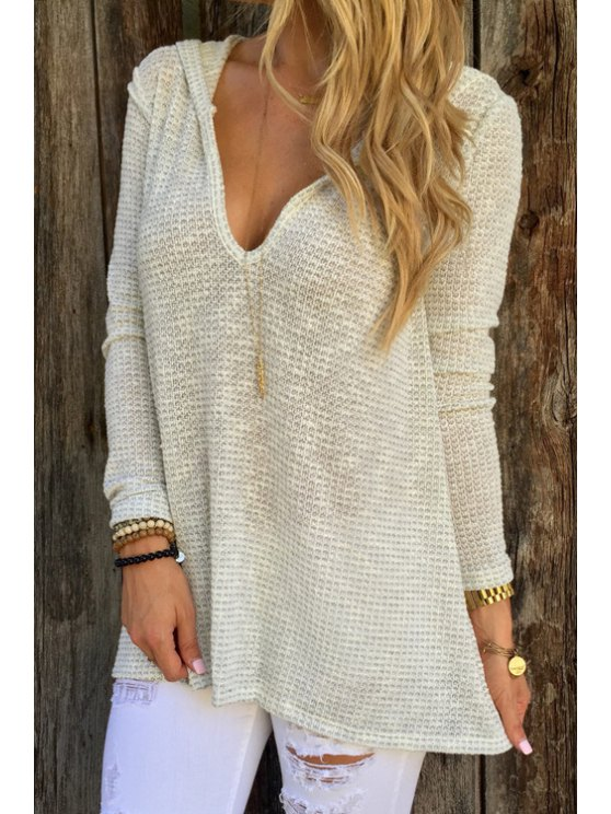 fashion Hooded Loose-Fitting Sweater - WHITE S