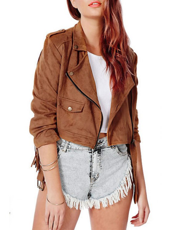 shops Tassels Spliced Solid Color Suede Lapel Collar Jacket - BROWN XS