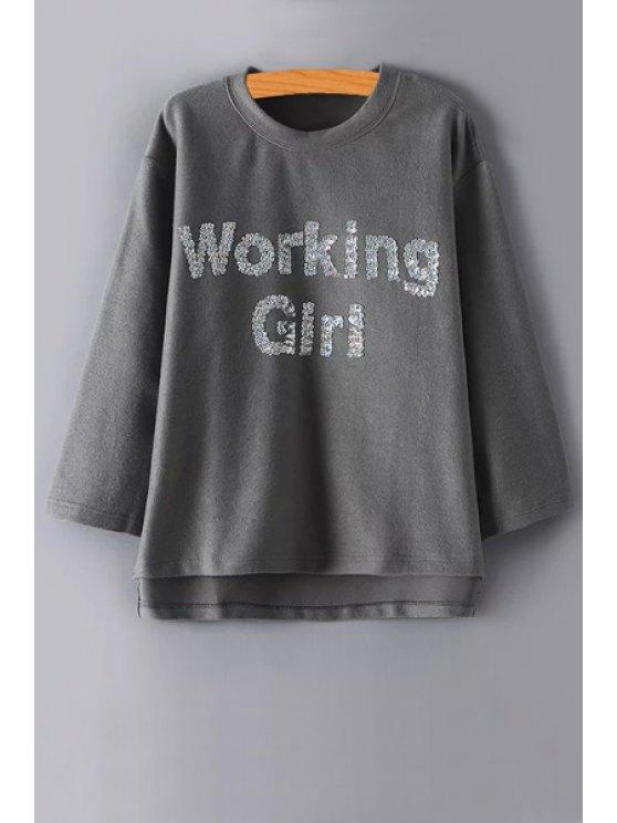 chic Sequins Letter Pattern Long Sleeve Sweatshirt - GRAY M