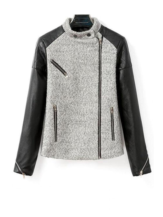 ladies Worsted Spliced Stand Neck Long Sleeve Jacket - GRAY S
