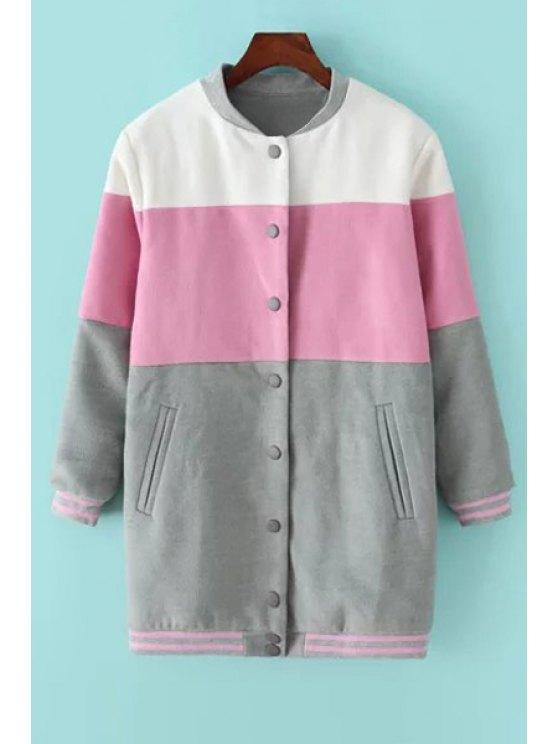 affordable Color Block Long Sleeves Baseball Jacket - COLORMIX S