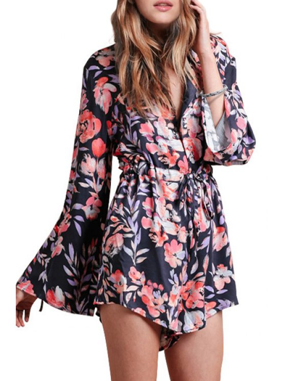 women Floral Print Long Sleeves Colorful Romper - COLORMIX XS