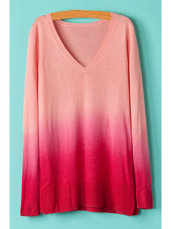 best V-Neck Ombre Color Knitwear - RED S