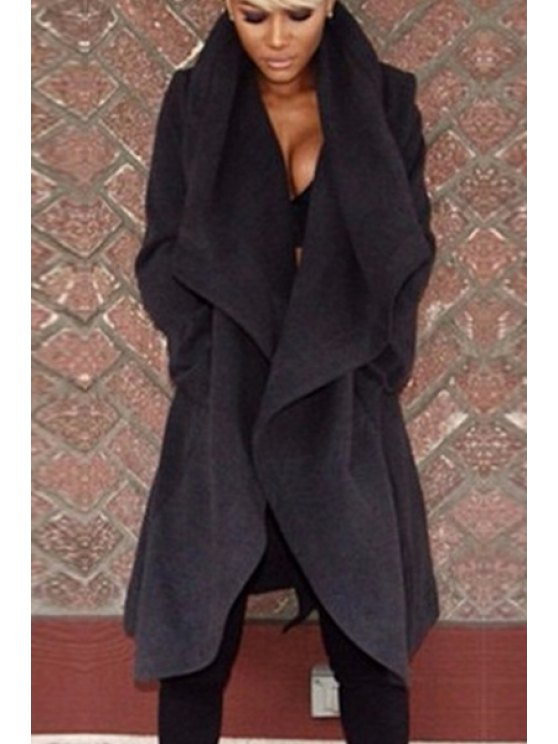 new Solid Color Worsted Long Sleeves Coat - BLACK XS