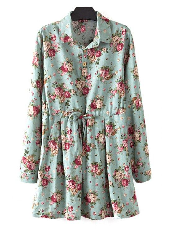 unique Floral Print Plus Size Drawstring Dress - GREEN XL