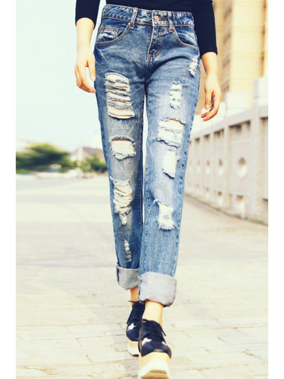 lady Hole Straight Leg Ripped Jeans - ROYAL BLUE S