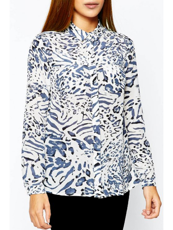 outfit Leopard Turn Down Collar Long Sleeve Shirt - BLUE AND WHITE XL