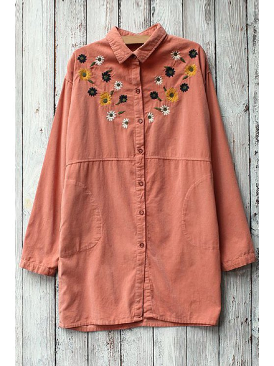 women Embroidery Print Thicken Corduroy Long Sleeves Blouse - PINK ONE SIZE(FIT SIZE XS TO M)