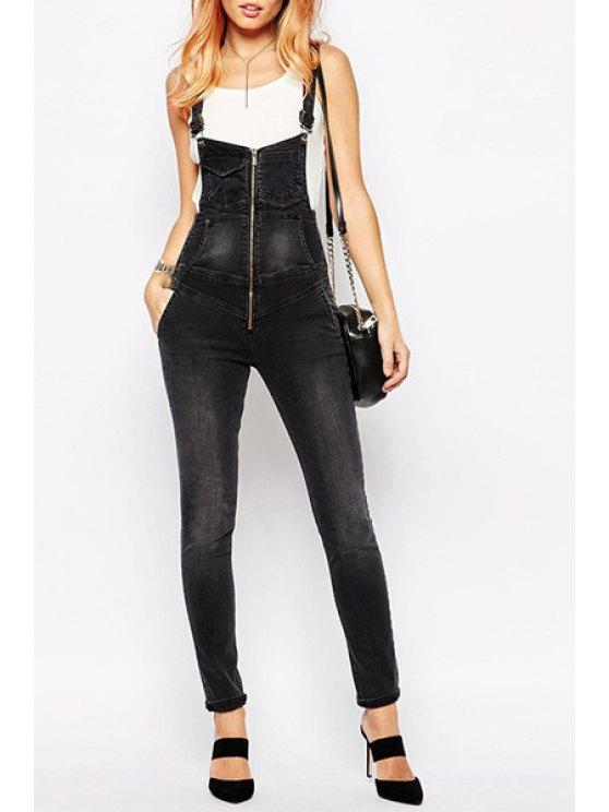 buy Black Denim Straps Overalls - BLACK S