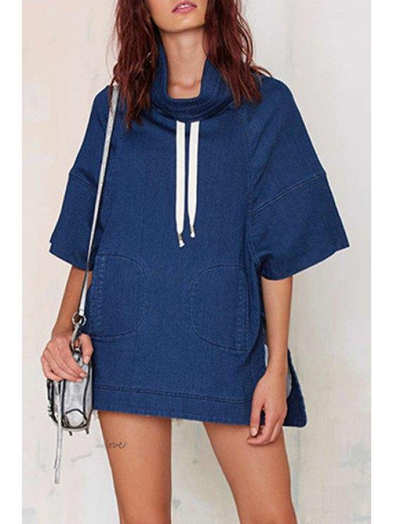 latest Blue Denim Half Sleeve Sweatshirt - BLUE XL