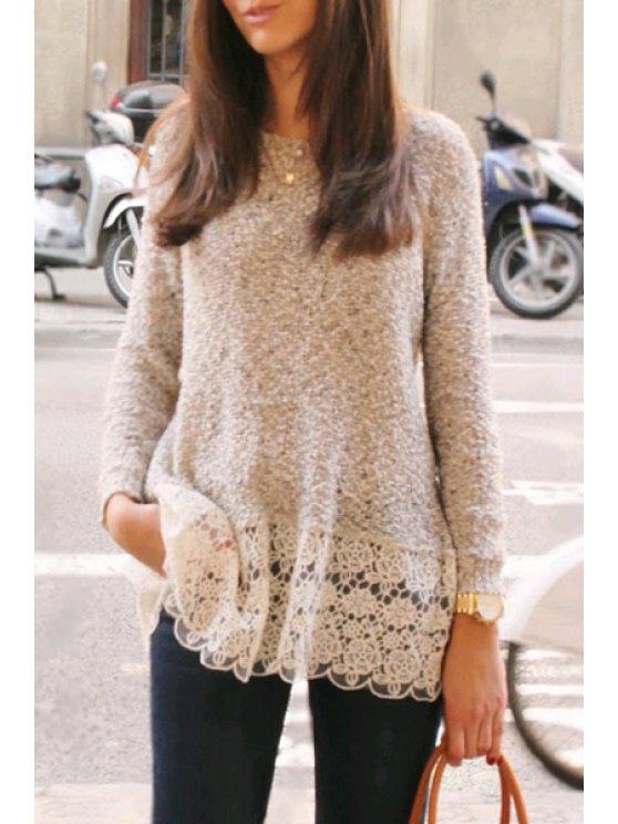 women's Lace Spliced Hem Long Sleeve Knitwear - APRICOT S