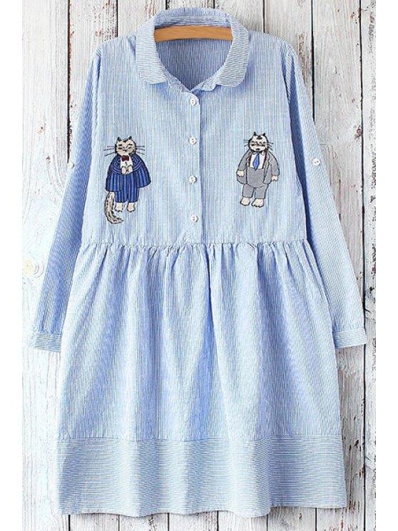 women Cartoon Print Flat Collar Long Sleeves Shirt Dress - LIGHT BLUE ONE SIZE(FIT SIZE XS TO M)