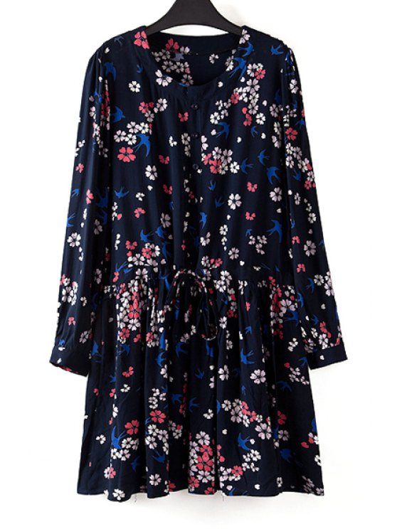 trendy Tiny Floral Jewel Neck Long Sleeve Dress - AS THE PICTURE 2XL