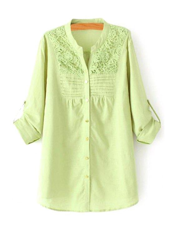 hot Crochet Flower Splicing Long Sleeve Blouse - LIGHT GREEN XL