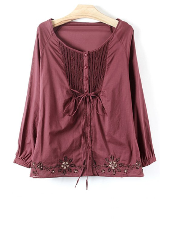sale Knit Spliced Embroidery Long Sleeve Blouse - CLARET S