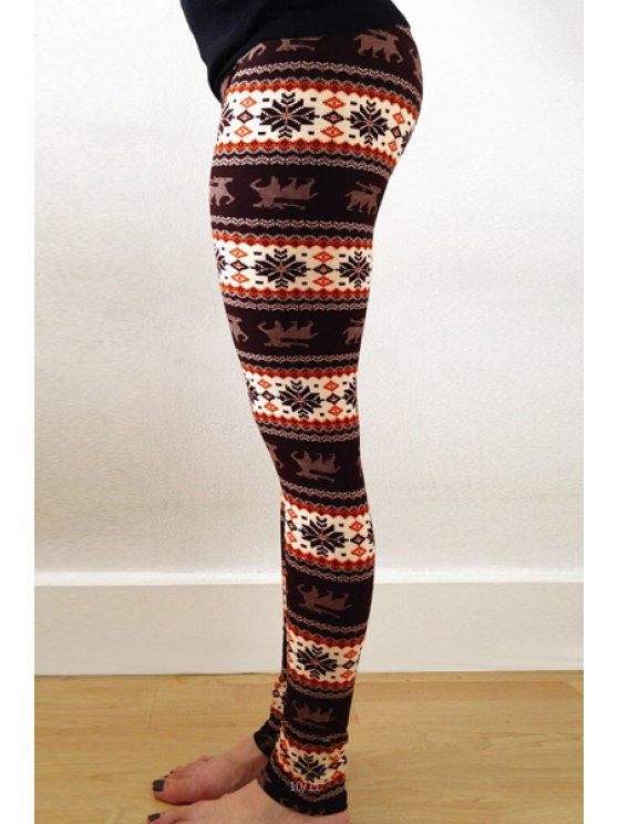 ladies Printed Skinny Stretchy Leggings - BROWN ONE SIZE(FIT SIZE XS TO M)