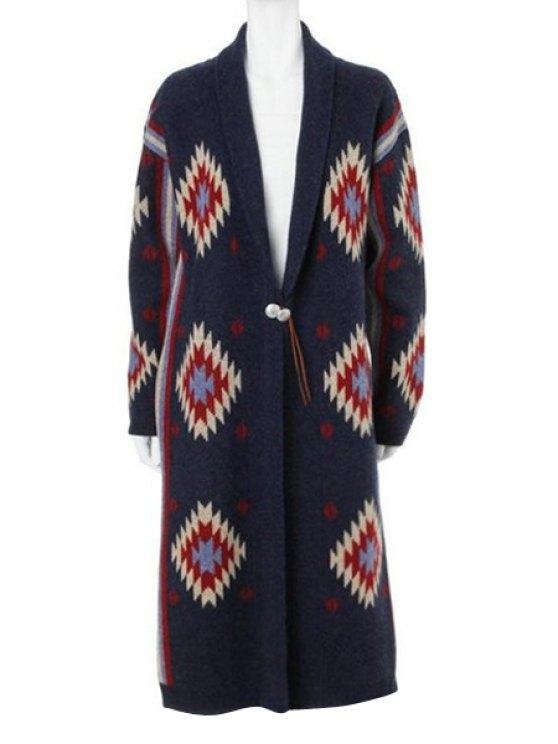 fashion Geometric Print Thicken Long Sleeves Cardigan - BLUE S