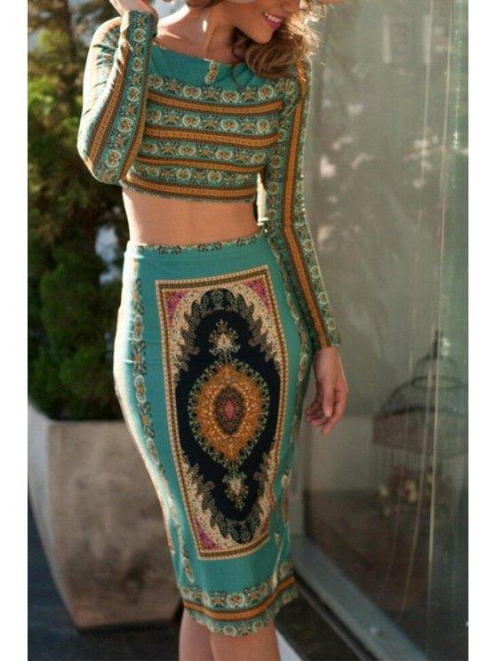 trendy Long Sleeve Crop Top + High-Waisted Pencil Skirt Twinset - GREEN S