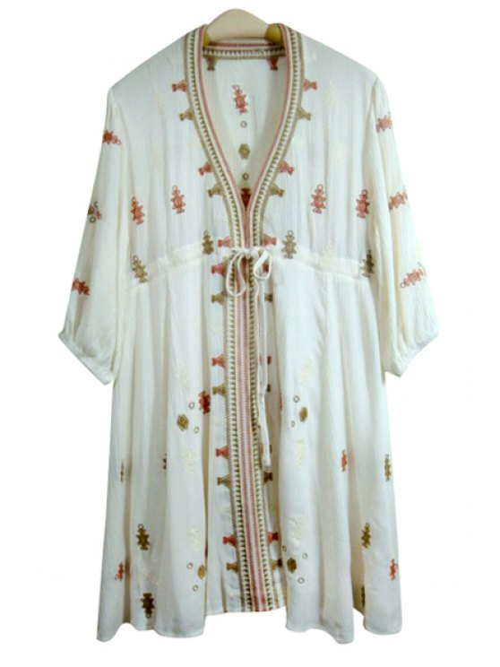 hot Embroidery Print Loose Fitting Waisted V-Neck Dress - OFF-WHITE S