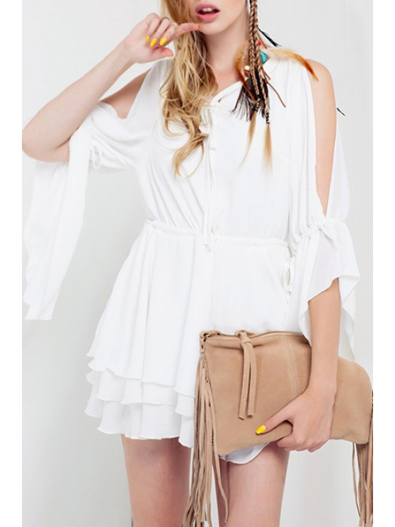 fancy Split Sleeve White Tiered Dress - WHITE S