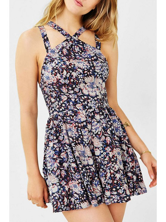 hot Sleeveless Full Floral Romper - COLORMIX XS