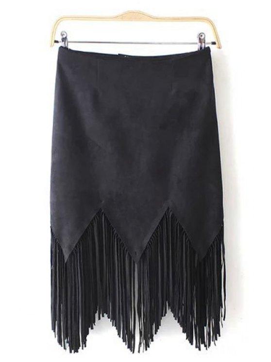 unique Suede Tassels Spliced Solid Color Skirt - BLACK S