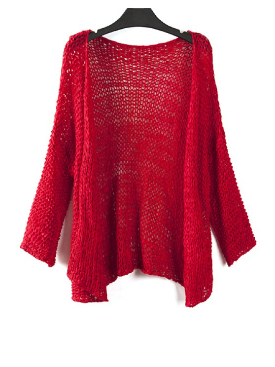 outfit Pure Color Long Sleeves Collarless Cardigan - RED ONE SIZE(FIT SIZE XS TO M)