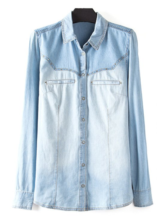 fashion Ombre Turn Down Collar Denim Shirt - AS THE PICTURE S