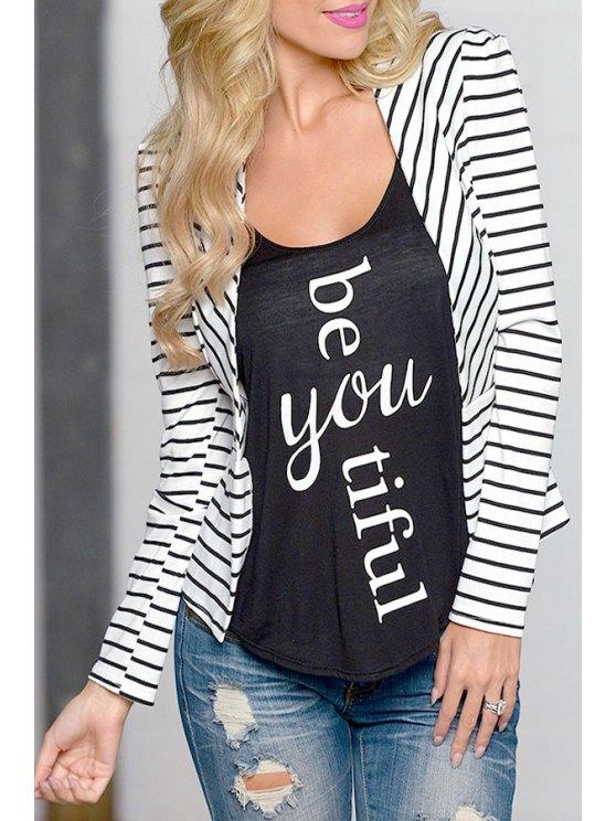 fashion Open Front Long Sleeve Striped Blazer - WHITE S