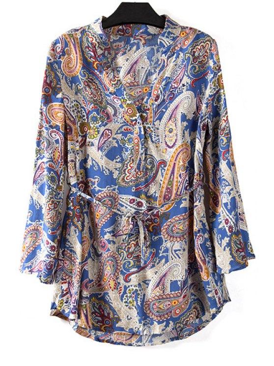 womens Paisley Print V Neck Long Sleeve Blouse - BLUE M