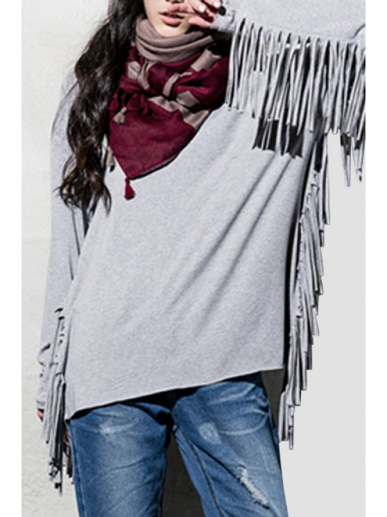 lady Long Sleeve Fringed Gray T-Shirt - LIGHT GRAY S