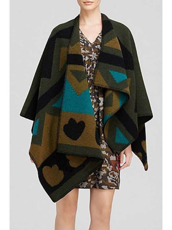 shop Geometric Pattern Cape Batwing Sleeves Coat - BLACKISH GREEN ONE SIZE(FIT SIZE XS TO M)