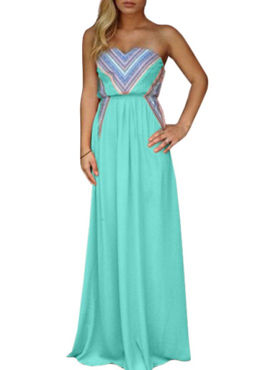 sale Print Strapless Dillards Dress - GREEN M