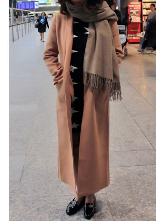 new Solid Color Pockets Lapel Collar Long Sleeves Coat - KHAKI S