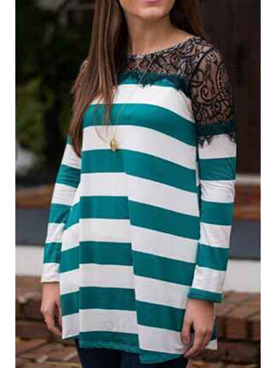 ladies Long Sleeve Striped Loose Dress - GREEN S