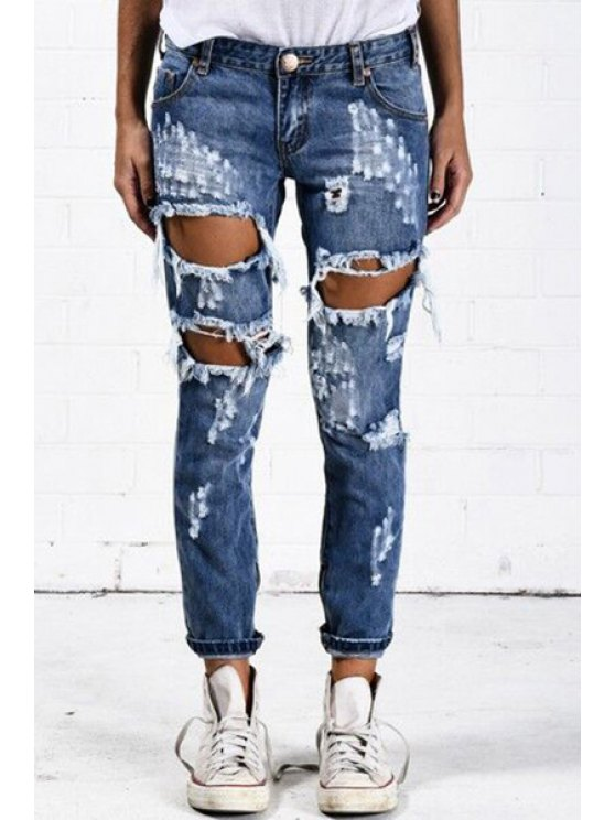 ladies Pockets Ripped Solid Color Jeans - LIGHT BLUE S