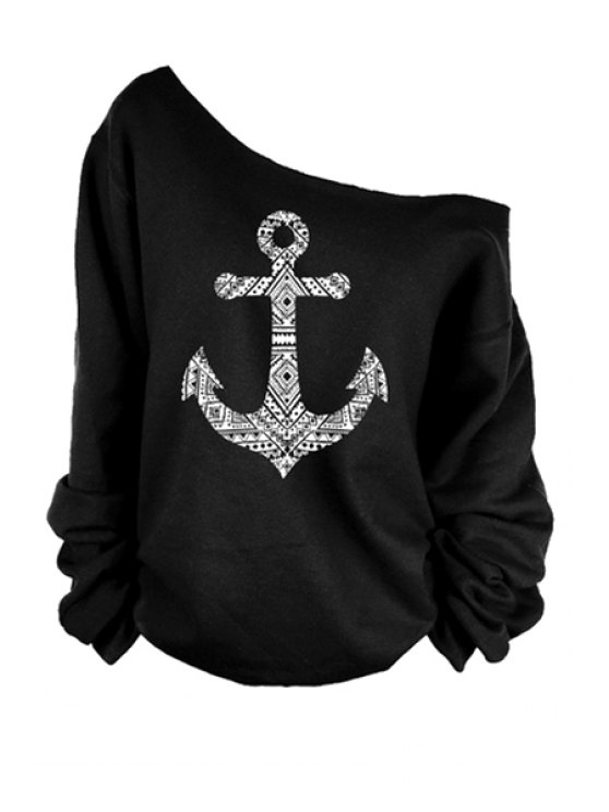 chic One-Shoulder Anchor Print T-Shirt - BLACK S