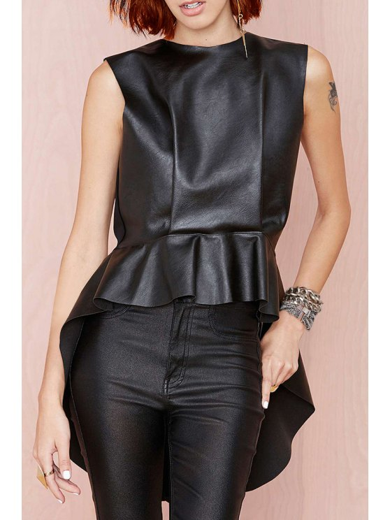 affordable Black PU Leather Round Neck Tank Top - BLACK XS