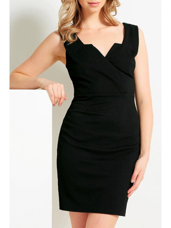 fashion V Neck Sleeveless Bodycon Black Dress - BLACK XS