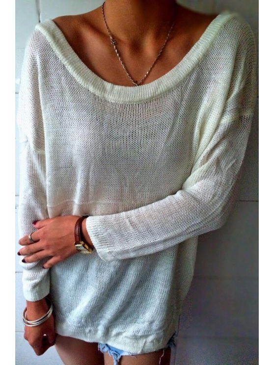 shop Solid Color Backless Boat Neck Long Sleeves Sweater - WHITE S