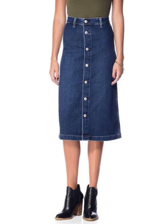 womens Blue High Waist Denim Skirt - BLUE S