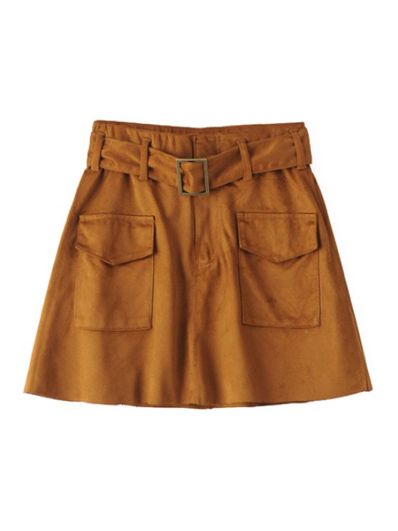 unique Two Pockets Belted Suede Skirt - BROWN M