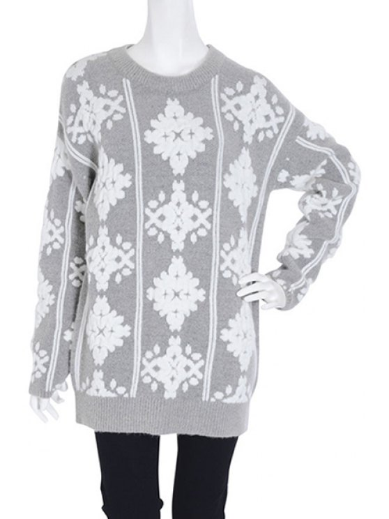 fancy Snowflake Pattern Long Sleeve Jumper - GRAY ONE SIZE(FIT SIZE XS TO M)