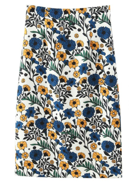 affordable Floral Print Back Slit Pencil Skirt - COLORMIX S