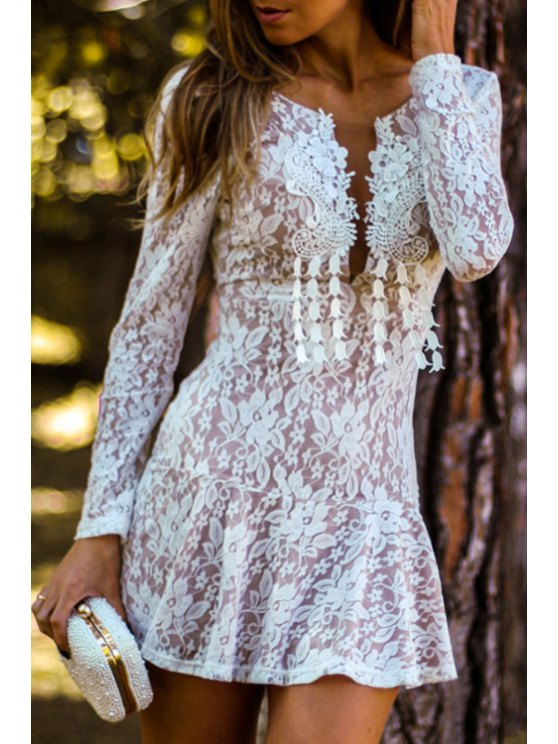 online White Lace Plunging Neck Mini Dress - WHITE S