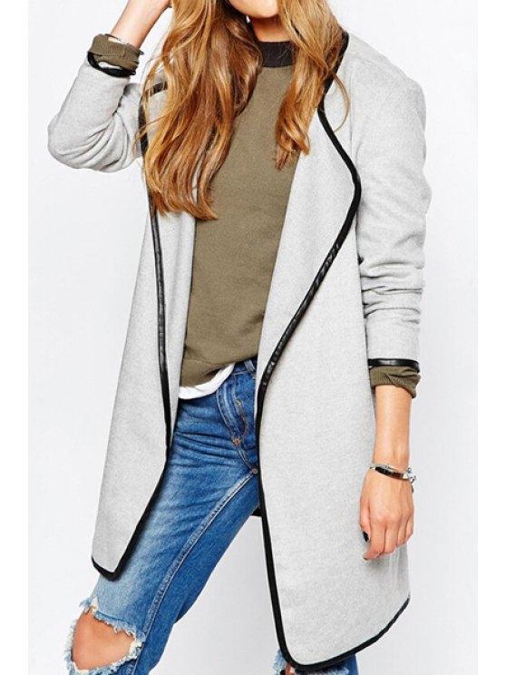 womens Color Block Turn Down Neck Long Sleeve Coat - WHITE M