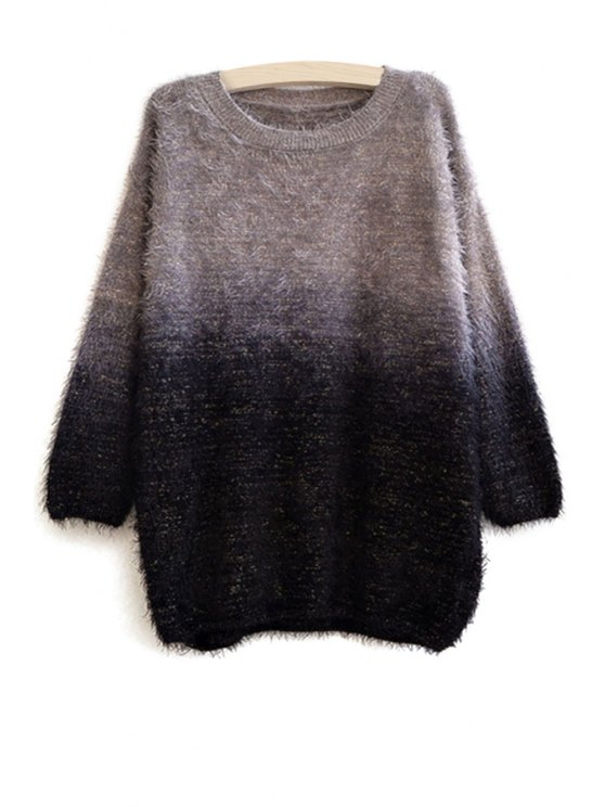 hot Ombre Color Long Sleeve Sweater - GRAY ONE SIZE(FIT SIZE XS TO M)