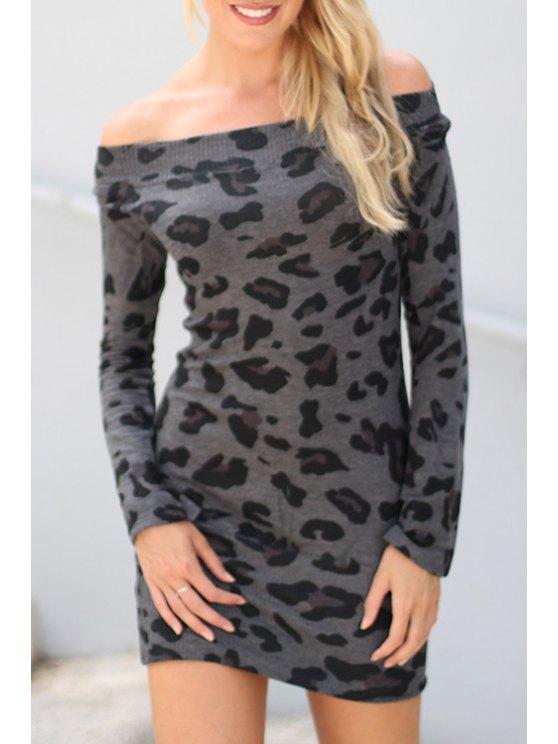 sale Off-The-Shoulder Leopard Bodycon Dress - DEEP GRAY S