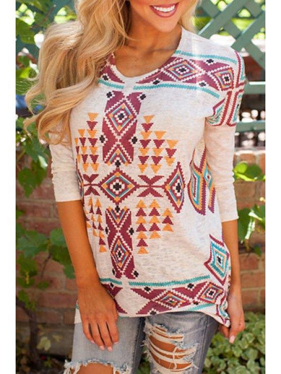 unique Long Sleeve Geometric Print T-Shirt - WHITE S
