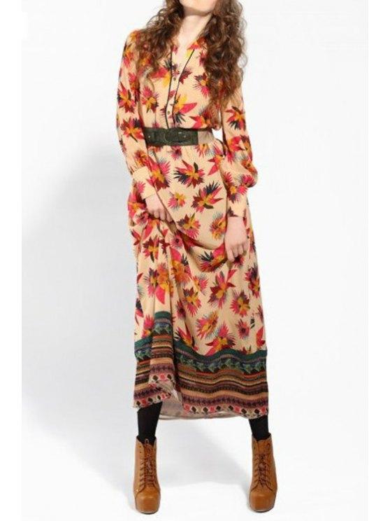 fashion Single-Breasted Leaf Print Dress - KHAKI S